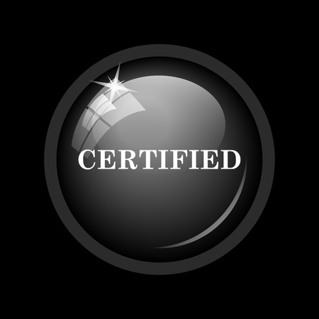 ratification: Certified icon. Internet button on black background.