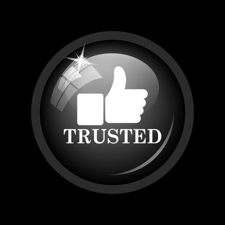 trusted: Trusted icon. Internet button on black background. Stock Photo