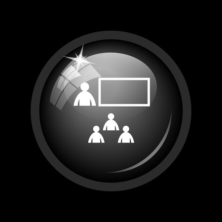 stage coach: Presenting icon. Internet button on black background.