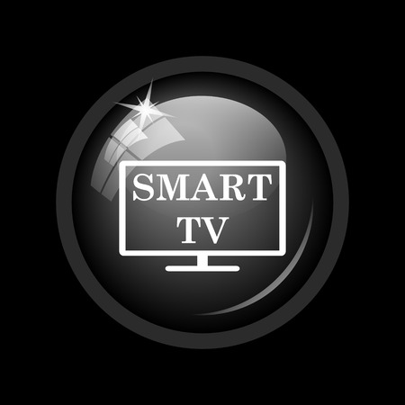 internet background: Smart tv icon. Internet button on black background. Stock Photo