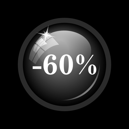60: 60 percent discount icon. Internet button on black background.