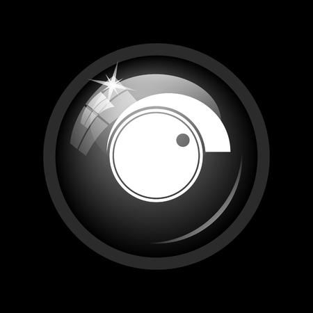 volume control: Volume control icon. Internet button on black background. Stock Photo