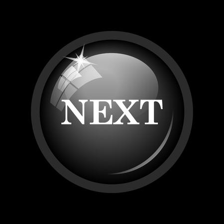 background next: Next icon. Internet button on black background. Stock Photo