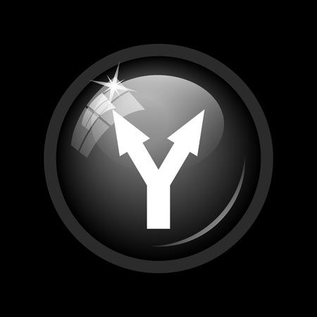 split road: Split arrow icon. Internet button on black background.