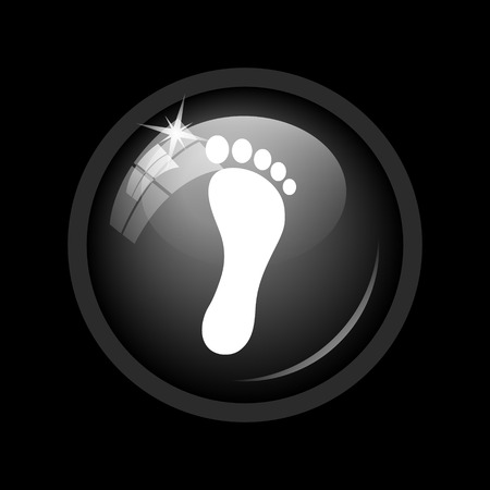 black foot: Foot print icon. Internet button on black background. Stock Photo