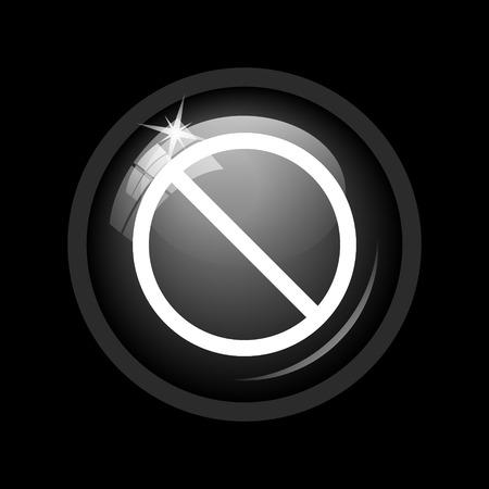 disallowed: Forbidden icon. Internet button on black background.