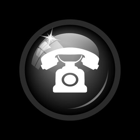 phone button: Phone icon. Internet button on black background. Stock Photo