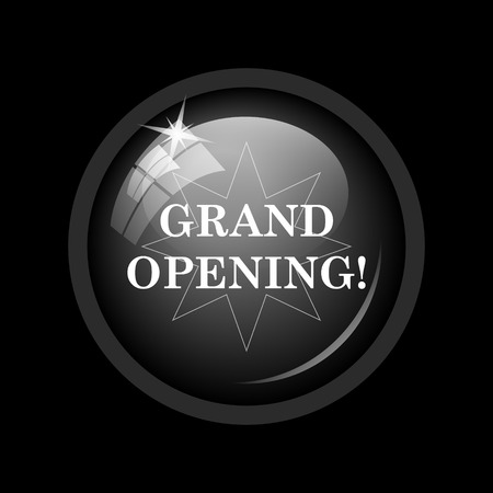 grand sale button: Grand opening icon. Internet button on black background.