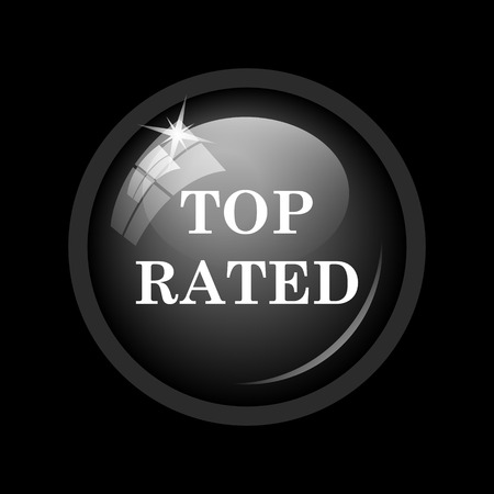 rated: Top rated  icon. Internet button on black background.