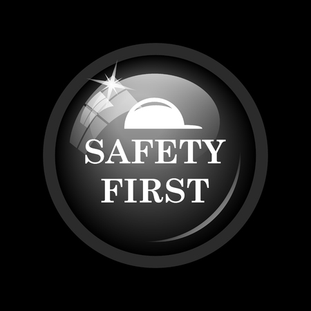 cautionary: Safety first icon. Internet button on black background. Stock Photo