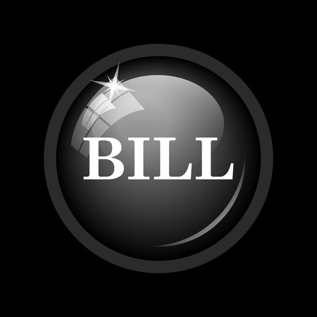accounts payable: Bill icon. Internet button on black background.