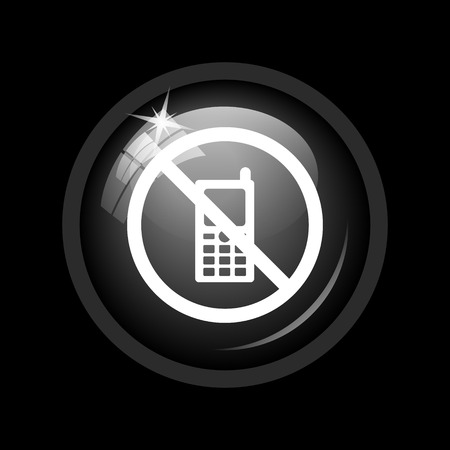 use regulation: Mobile phone restricted icon. Internet button on black background.
