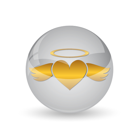 Heart angel icon. Internet button on white background.