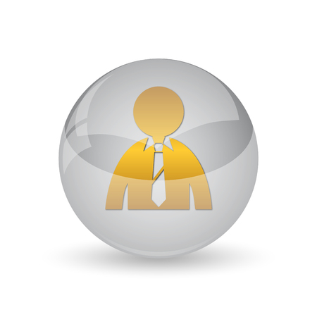 internet icon: Business man icon. Internet button on white background. Stock Photo