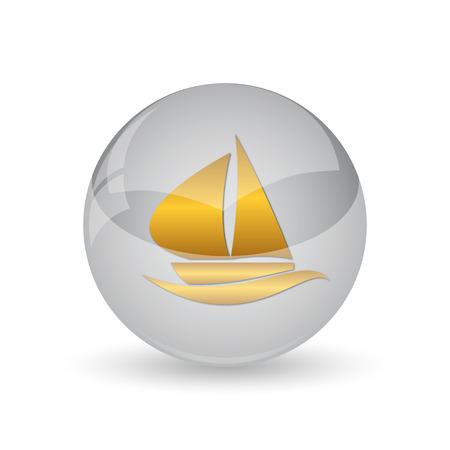 Sailboat icon. Internet button on white background. Stock Photo