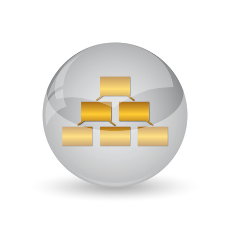 Organizational chart icon. Internet button on white background.