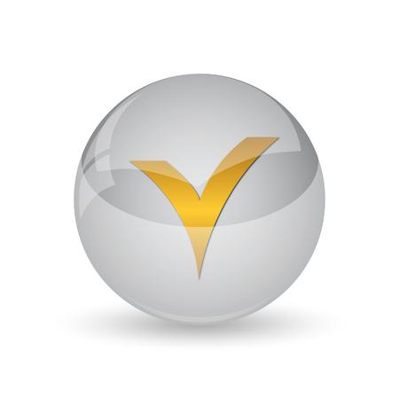 V checked icon. Internet button on white background. Stock Photo