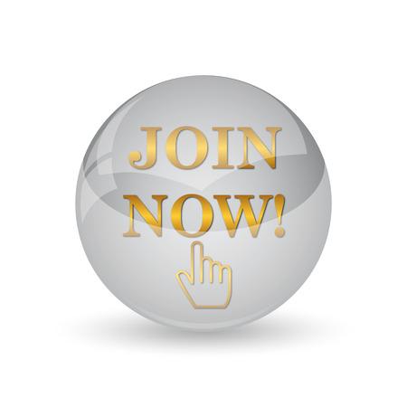 Join now icon. Internet button on white background. Stock Photo