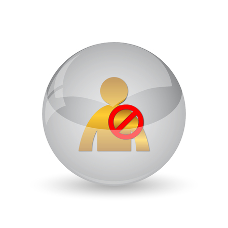 User offline icon. Internet button on white background.