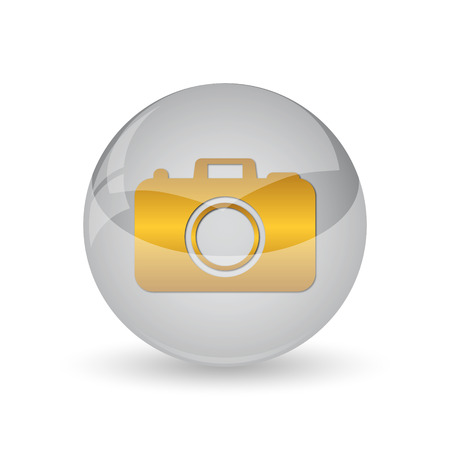 Photo camera icon. Internet button on white background.