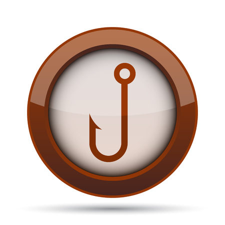barbed: Fish hook icon. Internet button on white background.