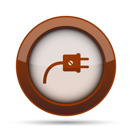 socket adapters: Plug icon. Internet button on white background. Stock Photo