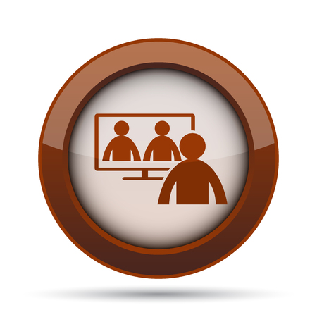 dealing: Video conference, online meeting icon. Internet button on white background. Stock Photo