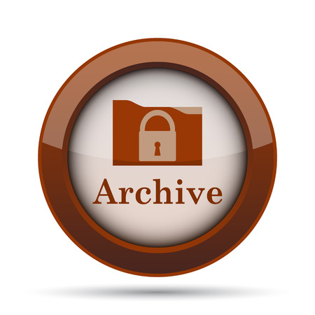 hard drive: Archive icon. Internet button on white background.