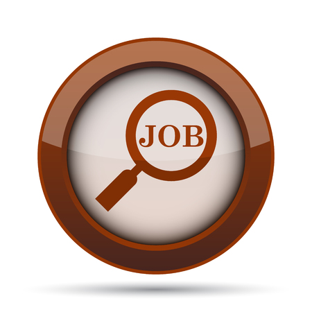 vacancy: Search for job icon. Internet button on white background. Stock Photo