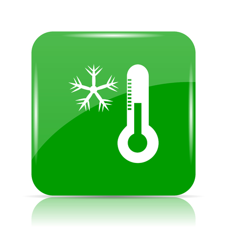 drift: Snowflake with thermometer icon. Internet button on white background.
