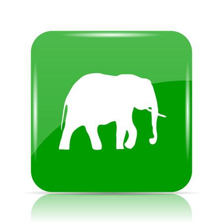 Elephant icon. Internet button on white background. Stock Photo