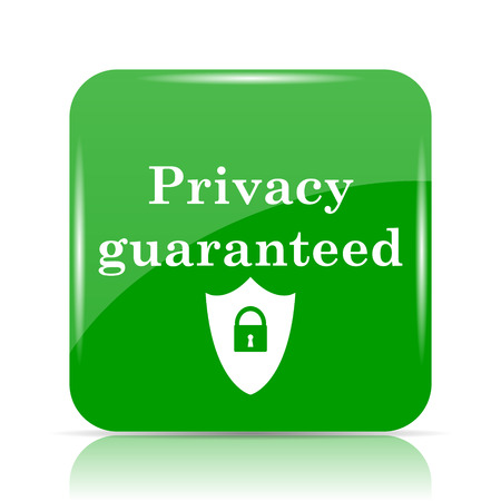 Privacy guaranteed icon. Internet button on white background.