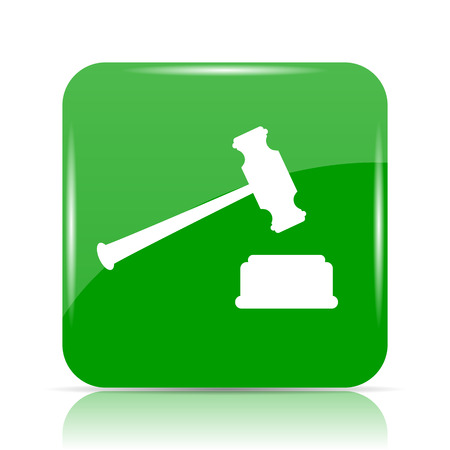 auctioning: Judge hammer icon. Internet button on white background.