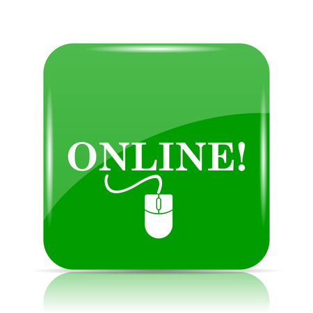 Online with mouse icon. Internet button on white background. Stock Photo