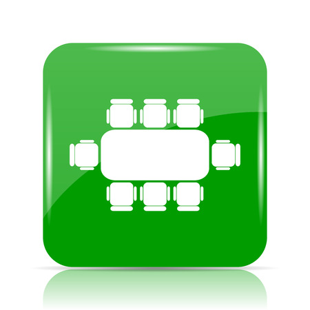 Business meeting table icon. Internet button on white background. Stock Photo