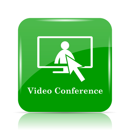 manpower: Video conference, online meeting icon. Internet button on white background. Stock Photo