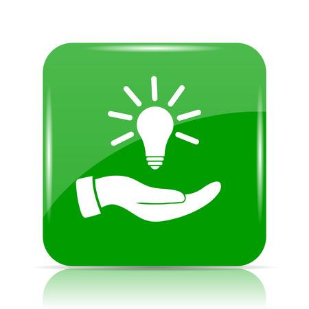 Hand holding lightbulb.Idea icon. Internet button on white background.