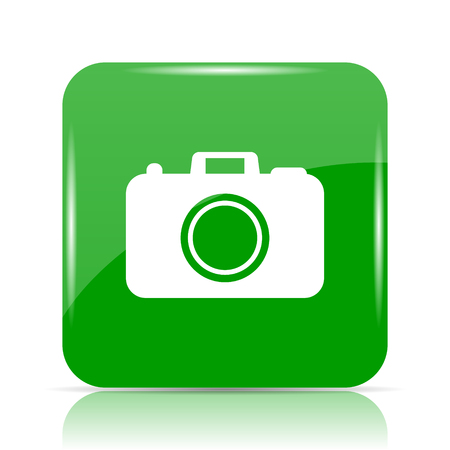 Photo camera icon. Internet button on white background.