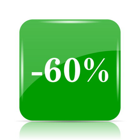 60 percent discount icon. Internet button on white background.