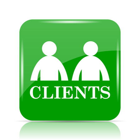 Clients icon. Internet button on white background. Stock Photo