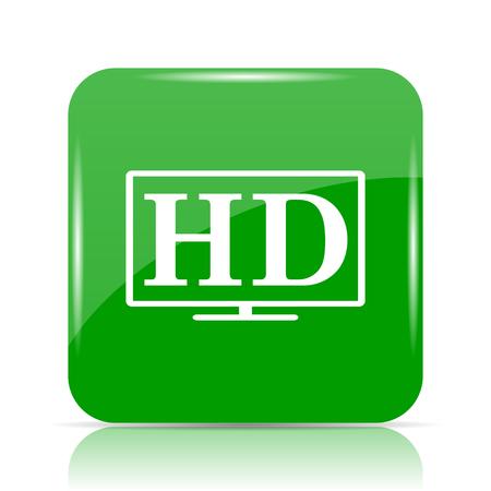 HD TV icon. Internet button on white background.