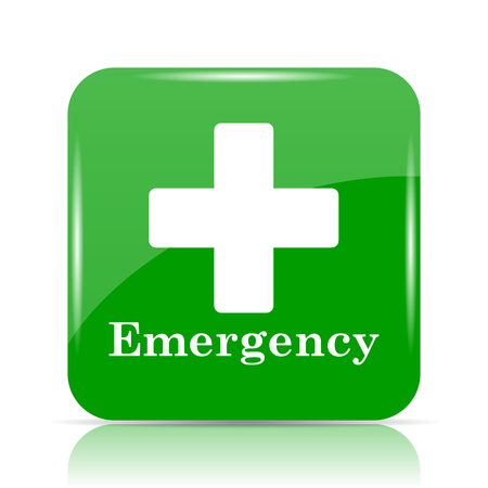 emergency call: Emergency icon. Internet button on white background. Stock Photo