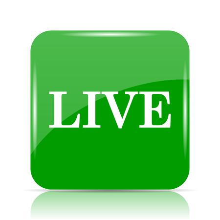 live stream tv: Live icon. Internet button on white background.