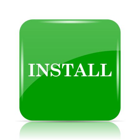 Install icon. Internet button on white background.