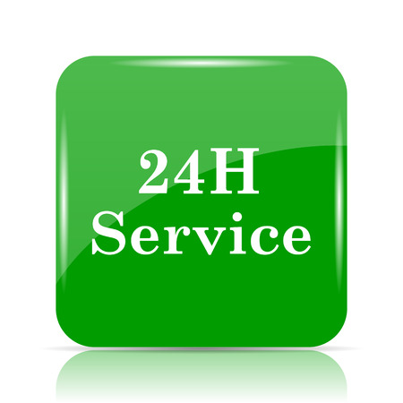 24H Service icon. Internet button on white background.