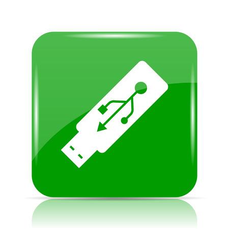 pendrive: Usb flash drive icon. Internet button on white background. Stock Photo