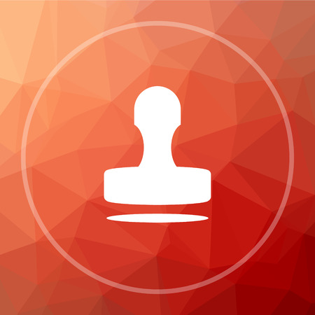qualify: Stamp icon. Stamp website button on red low poly background. Stock Photo