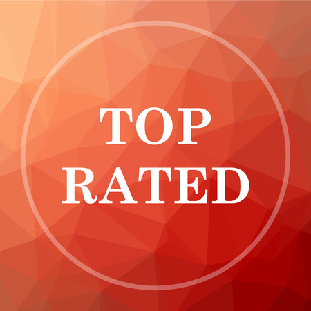 rated: Top rated  icon. Top rated  website button on red low poly background.