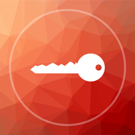 Key icon. Key website button on red low poly background.