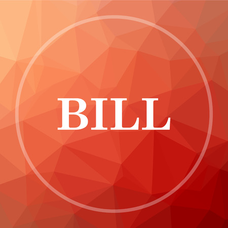 accounts payable: Bill icon. Bill website button on red low poly background. Stock Photo
